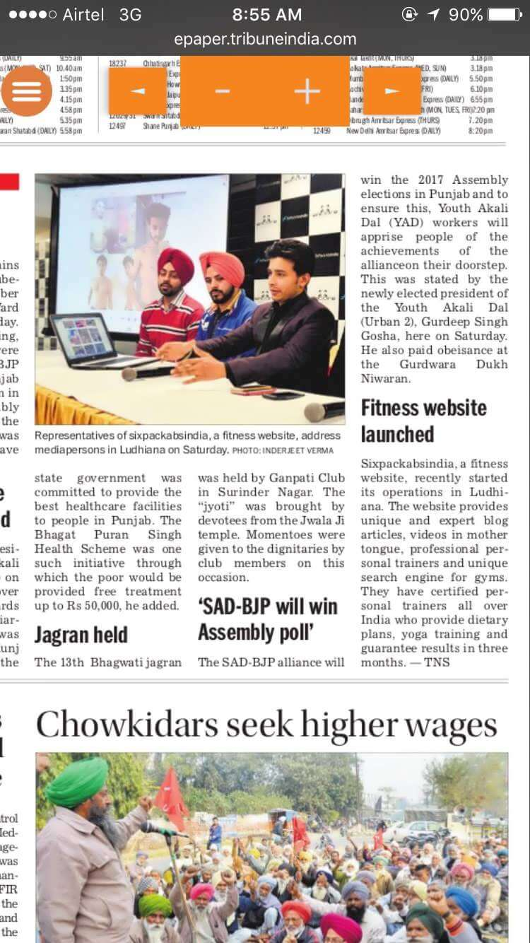 six pack abs india in tribune india